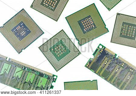 Bunch Of Cpu, Central Processor Units And Ram, Random-access Memory, Isolated Background. Main Elect