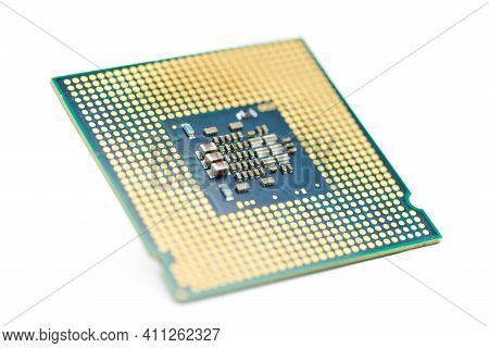 Cpu, Central Processor Unit, Isolated Background. Main Electronic Circuitry For Computer. Selective