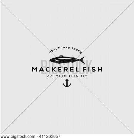 Vintage Silhouette Mackerel Fish Logo Vector Illustration