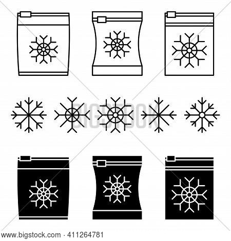 Set Of Vector Frozen Food Bag With Different Snowflakes. Freeze Packed. Containers And Bags For Food