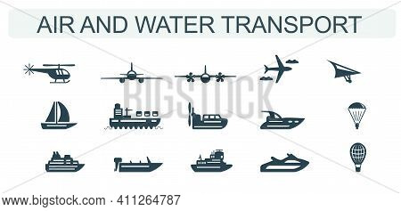 A Set Of Vector Icons For Air And Water Transport.