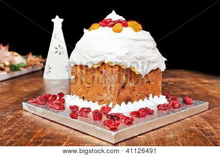 Christmas Cake And White Candle