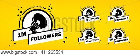 1 2 3 4 5 Million Followes Icon Set. Social Media Users Concept. Blogging. Vector On Isolated White
