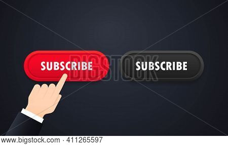Subscribe Button Set. Chennel Subscription. Social Media Concept. Vector On Isolated White Backgroun