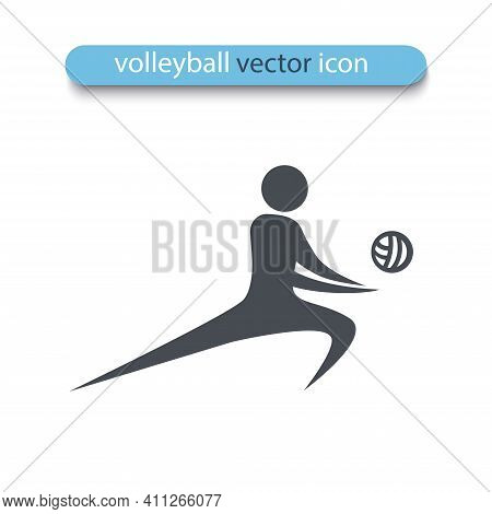 Volleyball Player Silhouette Isolated On White Background. Beach Volleyball Icon. Symbol Of Summer S