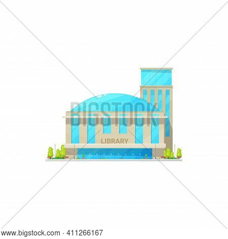 Public Library Building With Dome Shape Cell Isolated City Establishment. Vector Facades Of Modern L