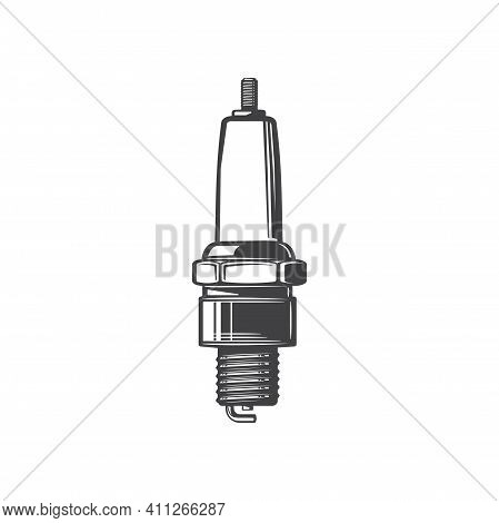 Sparking Plug Delivering Electric Current To Chamber Isolated Monochrome Icon. Vector Spark Plug Of