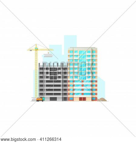House Under Construction Isolated Building Center Site. Vector Constructed Residential Building Faca