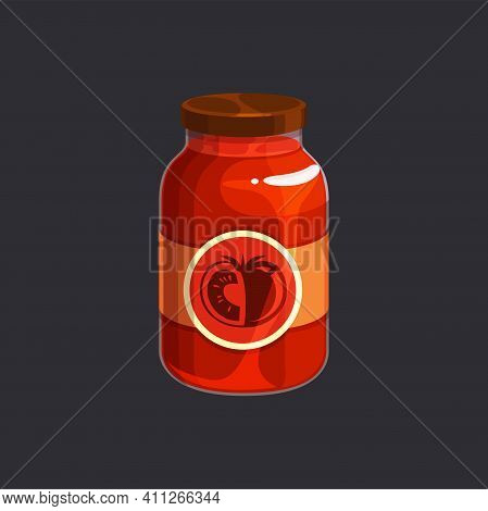 Homemade Tomato Sauce In Glass Jar Isolated Preserved Food. Vector Red Juice, Canned Tomato Jam With