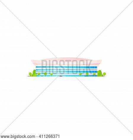 Modern City Architecture, Building With Round Roof Isolated Icon. Vector Stadium Or Sport Arena To W