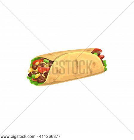 Burrito, Fast Food Menu Snack, Doner, Shawarma Icon, Vector Snack Sandwich. Fastfood Restaurant, Str