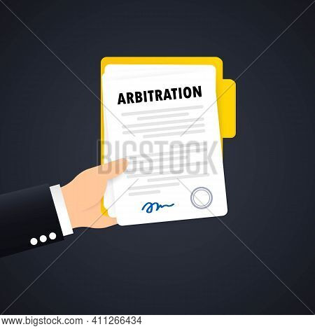 Arbitration Agreement Illustration. Legal Resolution Conflict. Vector On Isolated Background. Eps 10