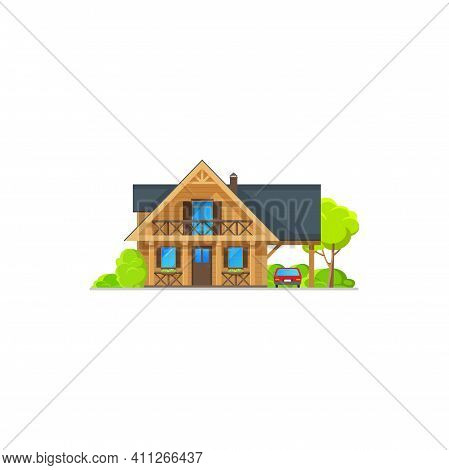 House, Bungalow Cottage Of Wood, Mansion Hut Building, Vector Flat Icon. Private House And Residenti
