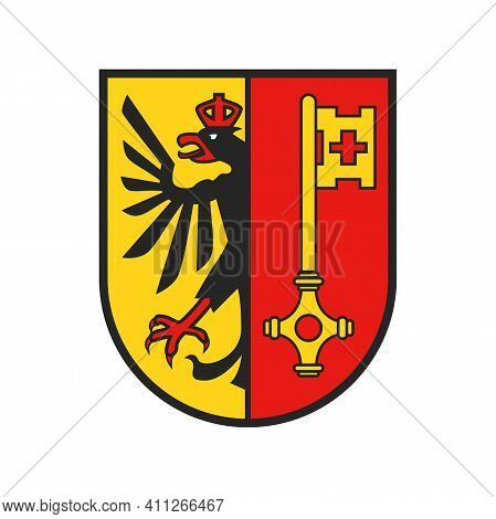 Swiss Canton Crest, Switzerland Geneva Coat Of Arms, Vector Shield And Heraldic Flag Emblem. Swiss C