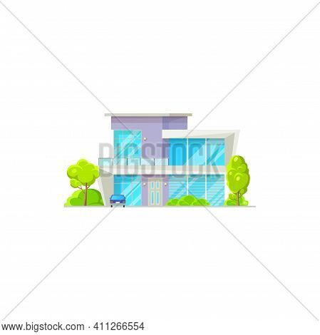 Facade Of Modern Luxury Patio, Garage And Parked Cars, Green Trees. Vector Chalet Country House, Con