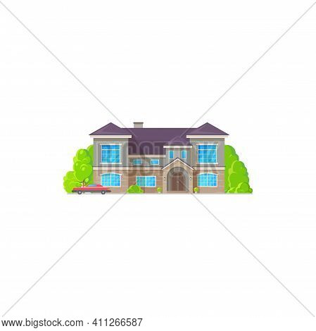 Vintage Chalet Country House, Contemporary Building With Trees And Vintage Car Isolated Icon. Vector