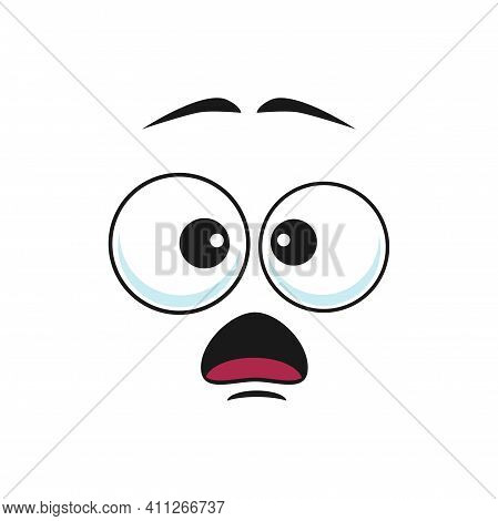 Surprised Cartoon Face Vector Icon, Funny Emoji, Astonished Facial Expression With Wide Open Mouth A
