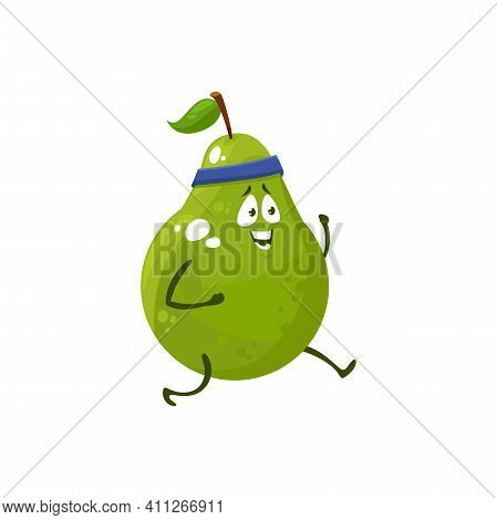 Cartoon Pear Running, Fruit Sportsman Vector Icon, Funny Character Doing Sport Exercises, Race On St
