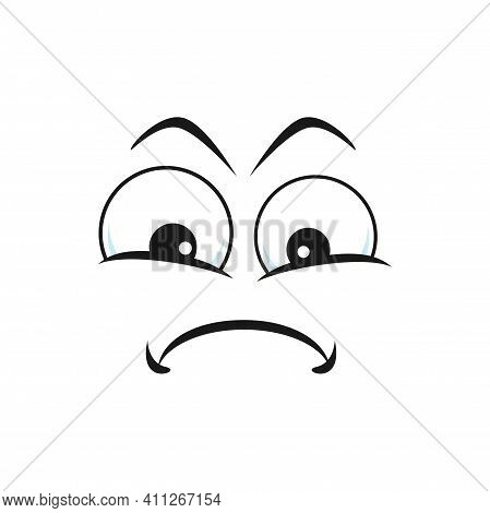Cartoon Face Vector Icon, Resentful Emoji With Puff Out Cheeks And Squinted Eyes. Upset Facial Expre