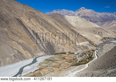 View Of The Himalayas Surrounded The Village Kagbeni