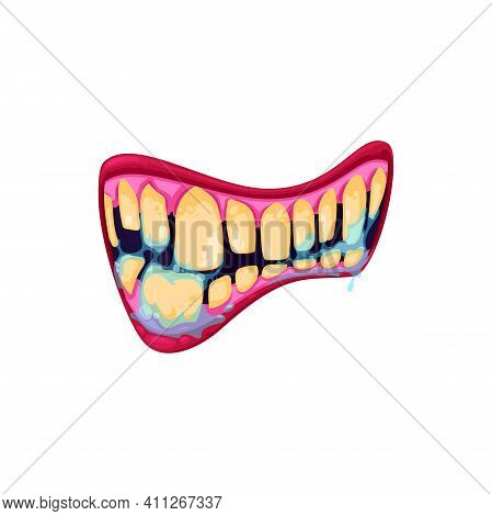 Monster Mouth Vector Icon, Creepy Zombie Jaws With Yellow Teeth, Saliva And Nasty Lips. Halloween Cr