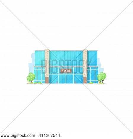 Gym Architecture Fitness Center Building Isolated Sport Club. Vector City Architecture Facade Exteri