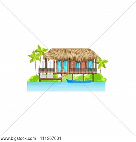 House, Villa Or Cottage On Beach With Palm Trees And Boat In Water Isolated Icon. Vector Beach House