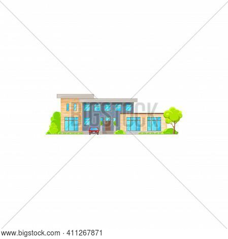 Modern Cosy House With Parked Car, Green Trees Isolated Building Facade Exterior, City Architecture