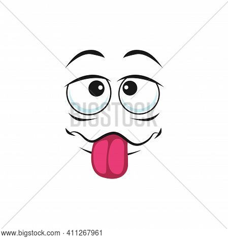 Cartoon Face With Pink Sticking Tongue, Vector Tease Facial Expression, Funny Emoji. Badger Naughty