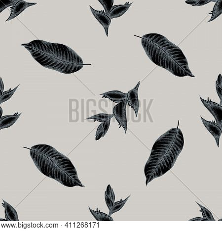 Seamless Pattern With Hand Drawn Stylized Heliconia Stock Illustration