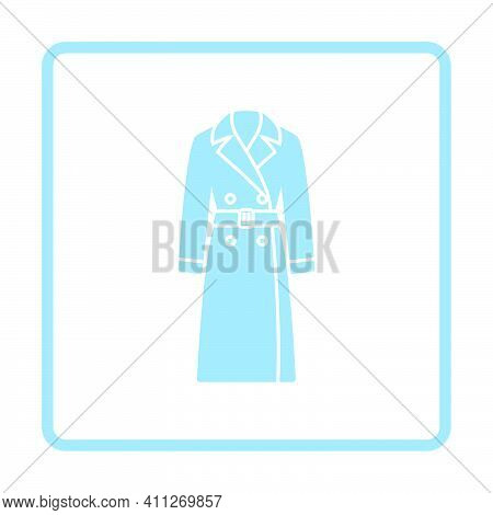 Business Woman Trench Icon. Blue Frame Design. Vector Illustration.
