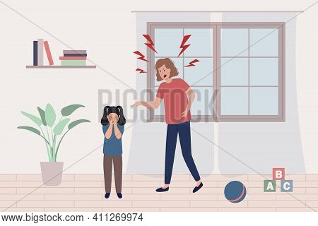 Child Abuse Concept. Mother Scream And Shout On Little Scared Girl, Kid Is Afraid And Closes Her Eye