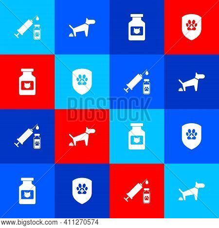 Set Syringe With Pet Vaccine, Dog Pooping, Cat Medicine Bottle And Animal Health Insurance Icon. Vec