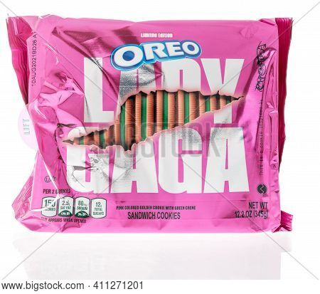 Winneconne, Wi -17 February 2021: A Package Of Nabisco Oreo Lady Gaga Limited Edition On An Isolated