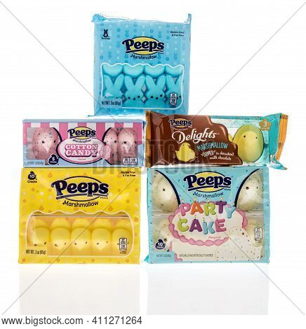 Winneconne, Wi - 4 March 2021: A Collection Of Peeps Delights Dipped In Milk Chocolate, Cotton Candy