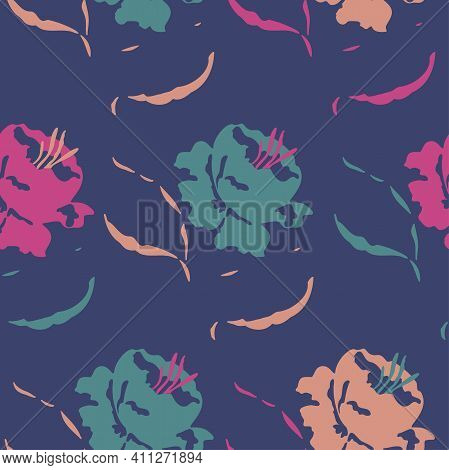 Vector Seamless Pattern With Vivid Blooming Abstract Flowers. Exuberant Blossom Design.