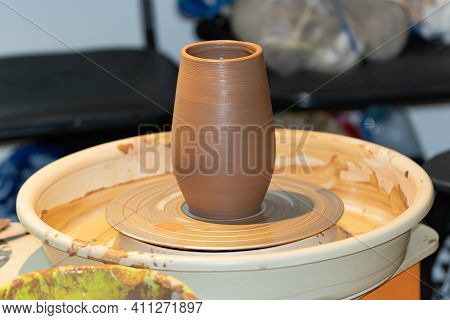 Pottery, Do-it-yourself Pottery, Made On A Potter's Wheel, Red Clay Vase