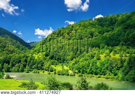 Mountain River Scenery On A Sunny Day. Beautiful Views Of Carpathian Nature Landscape In Fine Summer
