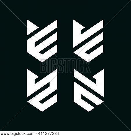 Initial Letter E, Jc, Ju, Sz, Cl Logo Template Set With Sporty Geometric Fox Head Illustration In Fl