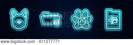 Set Line Dog, Medical Veterinary Record Folder, Veterinary Clinic And Clinical Pet. Glowing Neon Ico