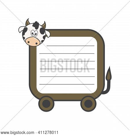 Animated Cow With Blank Paper For A Message