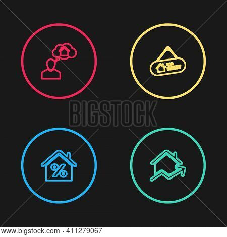 Set Line House With Percant, Rising Cost Of Housing, Hanging Sign For Rent And Man Dreaming About Bu