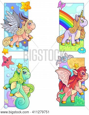 Cute Magic Ponies, Set Of Images, Funny Illustration