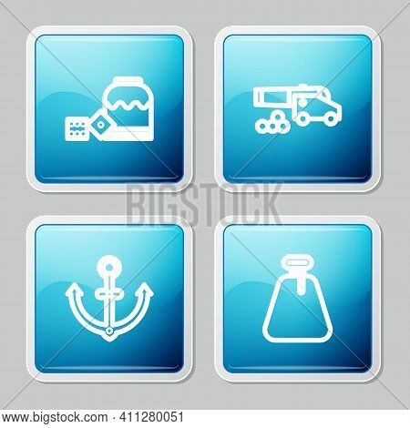 Set Line Pirate Game Dice, Cannon With Cannonballs, Anchor And Sack Icon. Vector