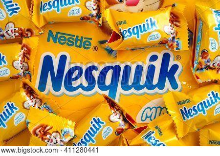 Tambov, Russian Federation - January 30, 2021 Nesquik Candies By Nestle On Nesquik Brand Pack
