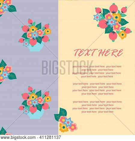 Seamless Illustration With Bright Colors Lilac Background. Vector Illustration. Spring Flowers. Back