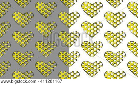 Geometrical Heart Seamless Pattern With Dots Cut Off. Yellow Creative Shapes With Grey Stroke Line.