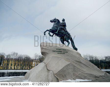 St. Petersburg, Russia, March 4, 2021. Emperor Peter The Great On Horseback Or Bronze Horseman  Monu