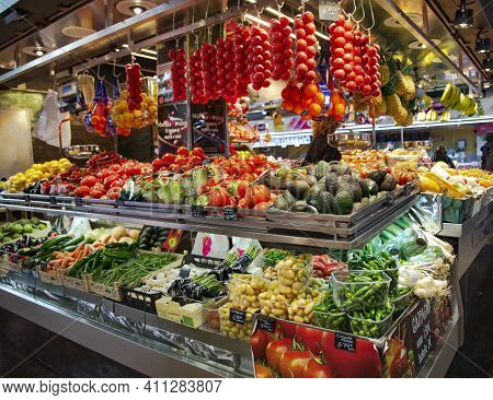 Spain, Barcelona, January, 2021 - La Boqueria Market With Vegetables And Fruits In Barcelona. Spain.