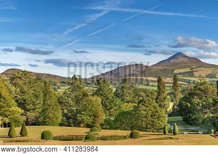 View Of Old Long Hill In Wicklow Mountains From Powerscourt Park, Ireland